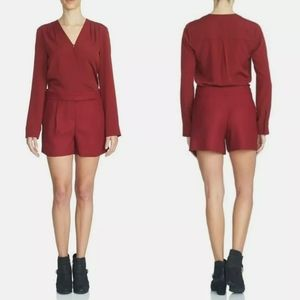 NEW 1. State Wine Red Surplice Long Sleeve Romper